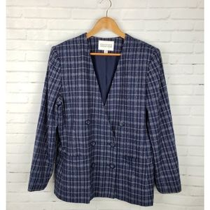 Vintage Double Breasted Checkered Navy Blazer